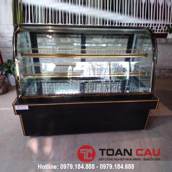 Tủ trưng bày bánh kem 3 tầng kính cong màu đen 1m5 giá rẻ