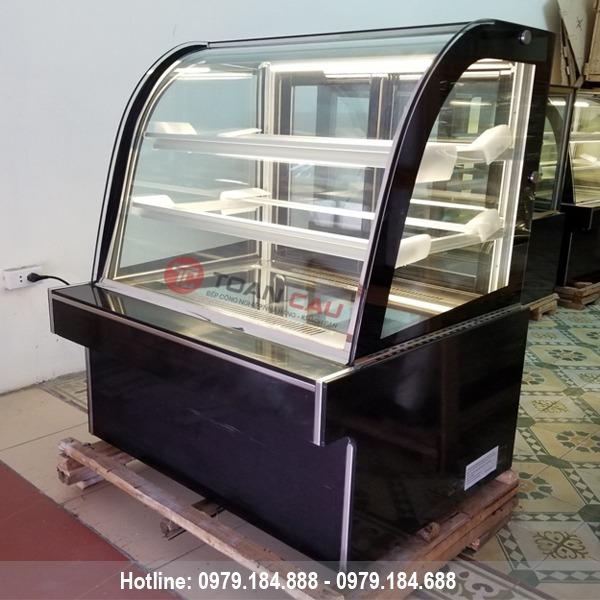 Tủ trưng bày bánh kem 3 tầng kính cong màu đen 90cm