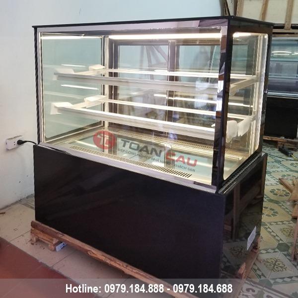 Tủ trưng bày bánh kem 3 tầng kính vuông màu đen 12