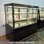 Tủ trưng bày bánh kem 3 tầng kính vuông màu đen 1m5