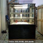 Tủ trưng bày bánh kem 3 tầng kính vuông màu đen 90cm chất lượng cao