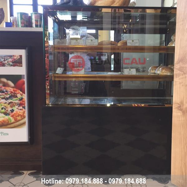 Tủ trưng bày bánh kem 3 tầng kính vuông màu đen 90cm giá rẻ