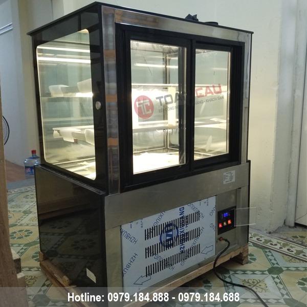 Tủ trưng bày bánh kem 3 tầng kính vuông màu đen 90cm nhập khẩu