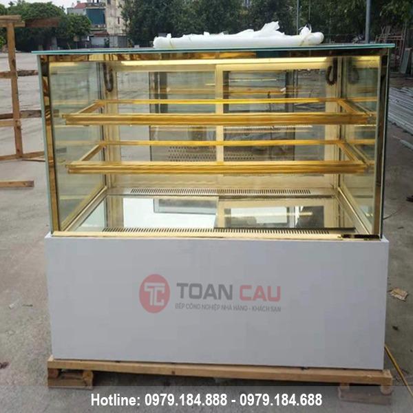 Tủ trưng bày bánh kem kính vuông 3 tầng màu trắng